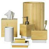 Bamboo colored bathroom accessories