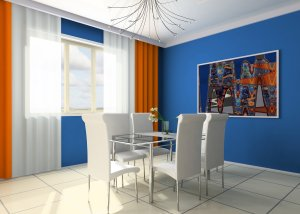 Blue, yellow and white breakfast nook
