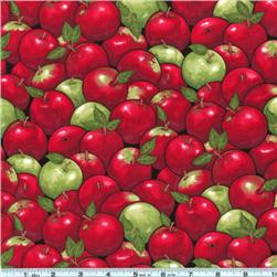 Red and Green Apple Print Fabric