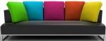 Multi coloured cushion sofa