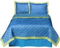 Blue bedding with lime edge