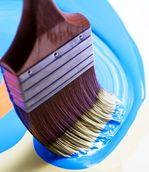 Paint brush and blue paint