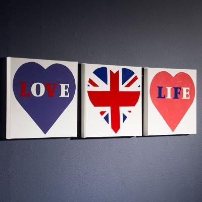 Set of 3 Love Life Blue Wall Art