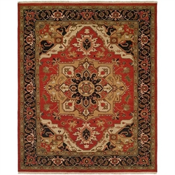 Black, Tan And Red Rug