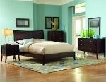 aqua and dark wood bedroom