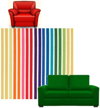Red Chair To Green Sofa