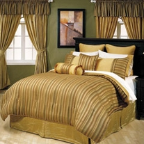 Gold striped bed in a bag