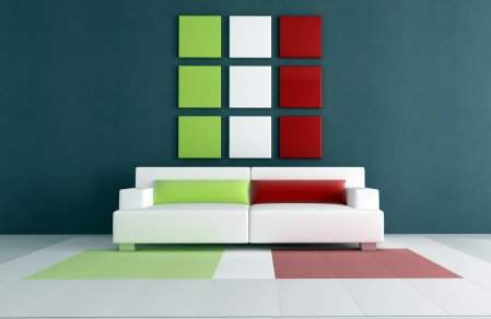 Red white and green minimalist decor