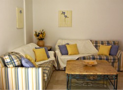 Cream blue and yellow lounge
