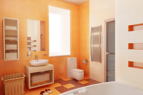 Master bathroom pictures for Peach bathroom decor