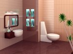 contemporary brown and blue bathroom