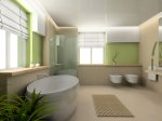 contemporary pale green and neutral bathroom