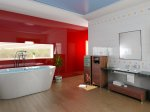 contemporary bathroom with shiny red wall