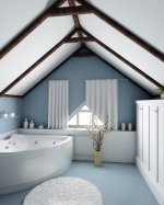 contemporary blue and white bathroom with beamed ceiling and corner bath