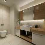 contemporary neutral bathroom with large rectangular basin