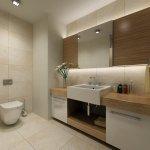 contemporary neutral bathroom with large rectangular basin