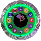 Neon balls game room clock