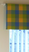 Yellow, blue and green check padded pelmet