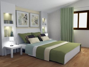 pale green and neutral bedroom