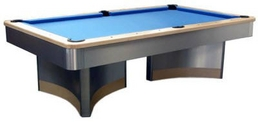 Blue baize pool table