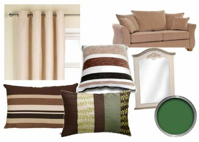 Shades of brown, cream and green living room