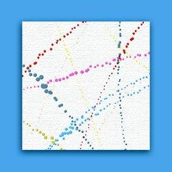 Splatter painting on blue background