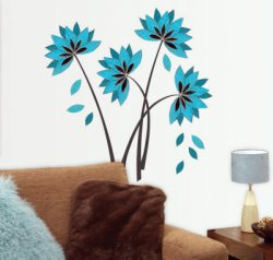 Teal flower decal