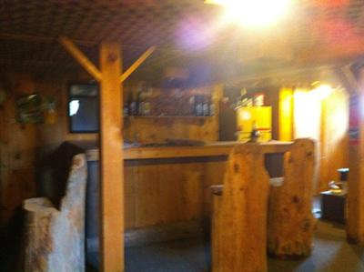 The rustic basement bar