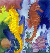 Sea horse ceramic tile