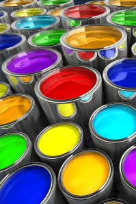 Assorted pots of paint