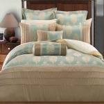 Eau de nil and beige master bedding