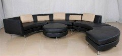 Black leather modular sofa set