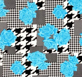 Black, White and Bright Blue Fabric