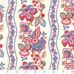 Chantal Stripe Red And Blue Fabric