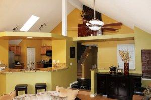 Open plan yellow room