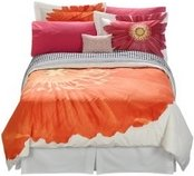 Orange pop art flower bedding