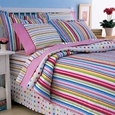 Pink spot and stripe bedding