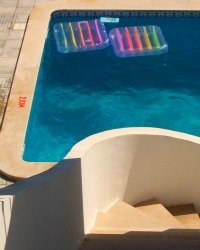 Swimming pool and lilos