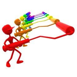 Rainbow paint roller men