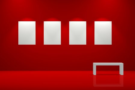 Red wall and blank canvases