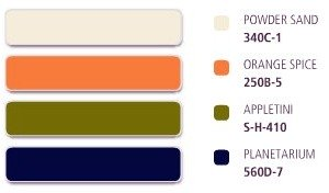 Peahes and Cream Colour Scheme with Khaki and Dark Blue